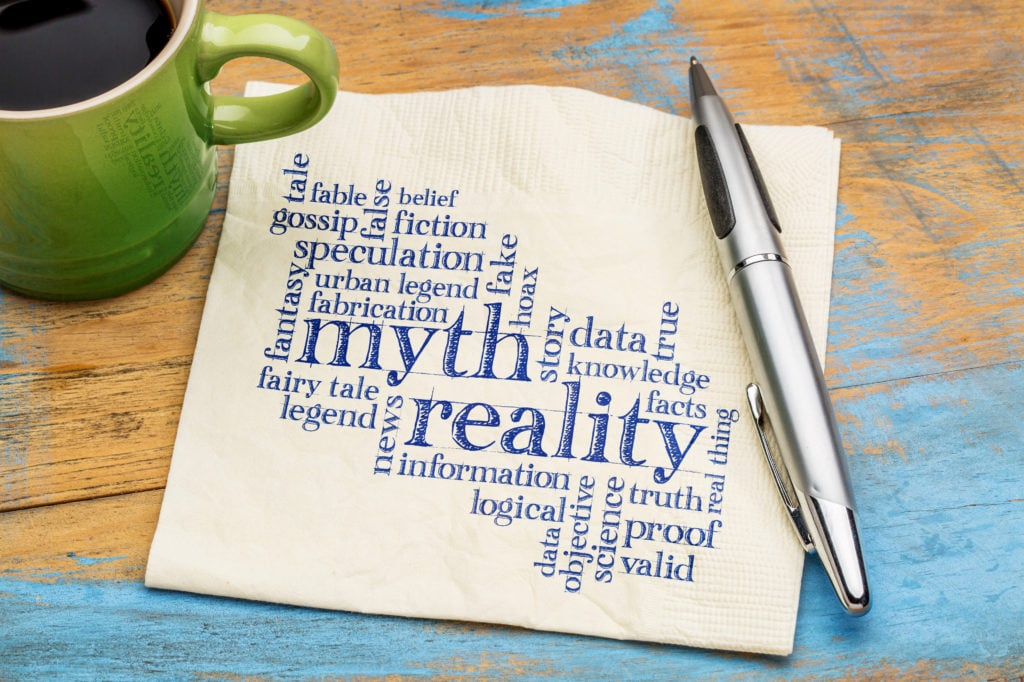 Myth versus reality word cloud