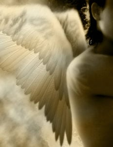 A romantic sepia toned gothic angel image.
